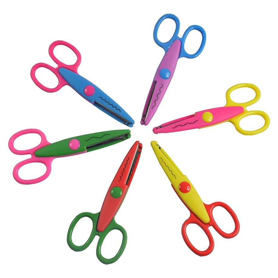 Balepha Crafting Paper Craft Scissors for Kids Toddler 6 Colours 6 Patterns 6 Pack