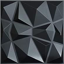 Art3d 3D Paneling Textured 3D Wall Design, Black Diamond, 19.7