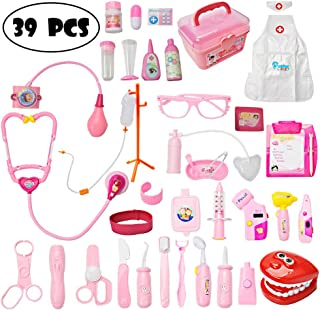 Mysterystone Toddler Doctor Kit with 39Pcs Pretend Play Toys Dentist Medical Equipment Pink