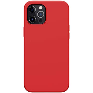 """Nillkin Case for Apple iPhone 12 Pro Max (6.7"""" Inch) Flex Pure Pro Magsafe Cover Case Liquid Silicon Magnetic Function Anti Finger Print with Inner Microfibre Red Color"""