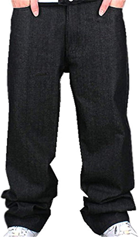 Men's Boy Baggy Loose Fit Hip Hop Black Denim Long Casual Pants Jeans