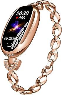 AKDSteel E68 - Reloj Inteligente para Mujer, Resistente al Agua, con Monitor de Actividad física, frecuencia cardíaca, presión Arterial, Pulsera Inteligente para Mujer, Color Dorado