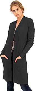 NANAVA Women's Solid Soft Long Line Long Sleeve Side Slits Open Cardigan