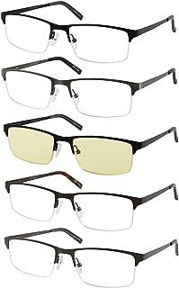Eyecedar 5-Pack Reading Glasses Men Metal Half-Frame Spring Hinges Rectangle Style Stainless Steel Material Includes Computer Readers +2.00