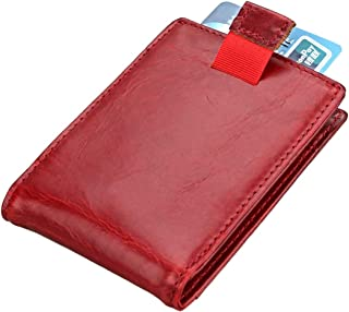 Mens Leather Bag Men's Wallet Retro Card Set Multi-Function Card Package Bag (Color : Red, Size : S)