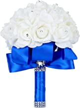 Febou Wedding Bouquet, Big Size Blue Bridesmaid Bouquet Bridal Bouquet with Crystals Soft Ribbons, Artificial Rose Flowers for Wedding, Party and Church (Blue Big Size)