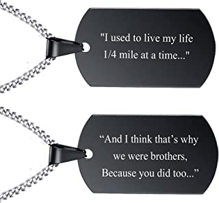 """VNOX Stainless Steel Plain Dog Tag Pendant Necklace with 24"""" Chain,Gift for Dad Husband Boy"""