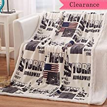 USTIDE Sherpa Throw Blanket New York Patterned Throw Blanket Comfort Couch Throws 51