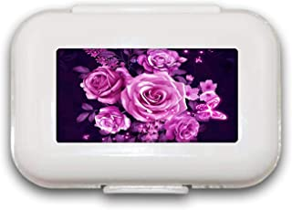 Sunok witte roze roze pil doos pil case pil organisator decoratieve dozen pil doos voor zak of portemonnee - 8 compartimen...