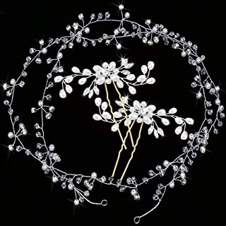 comprar comparacion Diadema para novia, 3 unidades, de cristal, con perlas plateadas, estilo vintage, para mujeres y niñas en bodas, fiestas o...