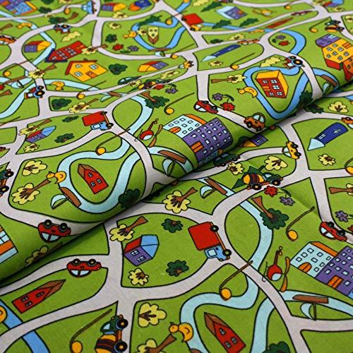 Hans-Textil-Shop 1 Meter Stoff Meterware Straßen Fahrzeuge Bäume Stadt - Jungen, Deko, Bettwäsche, Kissen