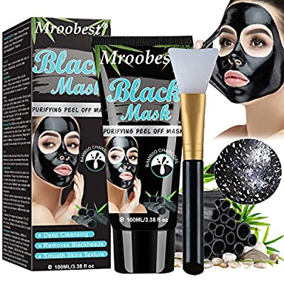 Blackhead Mask, Peel Off Mask, Blackhead Remover Mask, Face Mask with Activated Carbon, Purifying Black Face Mask, Deep Skin Clean Purifying Acne - 100ML from Mroobest