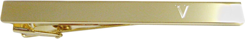 Gold Toned Etched Letter V Monogram Square Tie Clip