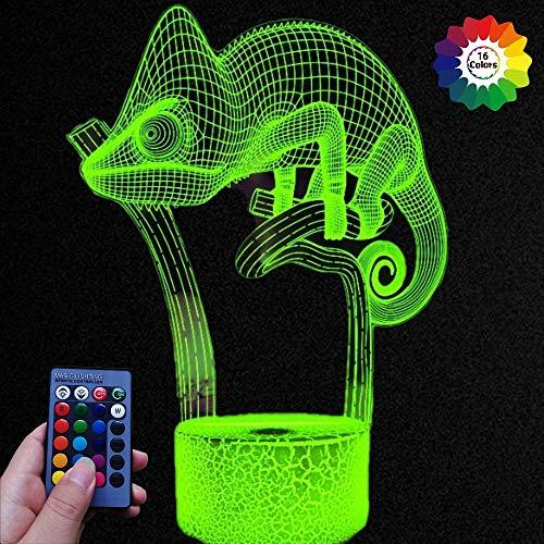 HPBN8 Ltd Optical Illusions 3D Chamäleon Nacht Licht LED Lampen Fernbedienung 7/16 Farbwechsel Tabelle Schreibtisch USB-Kabel für Kinder Schlafzimmer Geburtstagsgeschenke Geschenk