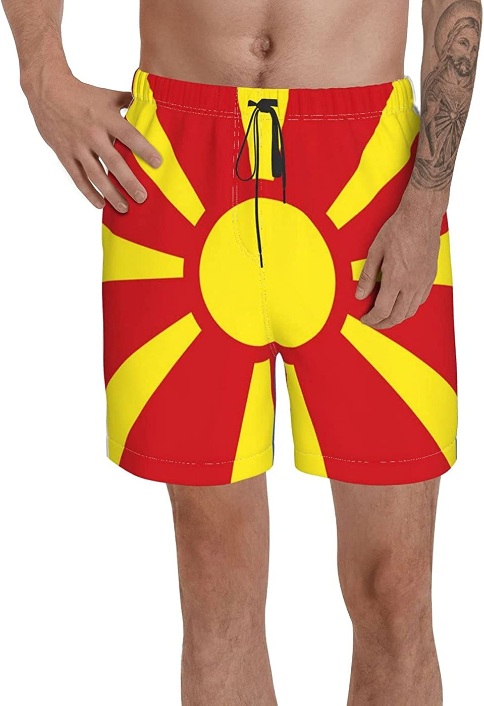 Count Macedonia Flag Men's 3D Printed Funny Summer Quick Dry Swim Short Board Shorts with