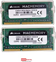 Corsair Apple Certified 16GB (2 x 8GB) DDR3 1333 MHz (PC3 10600) Laptop Memory for Mac Model CMSA16GX3M2A1333C9