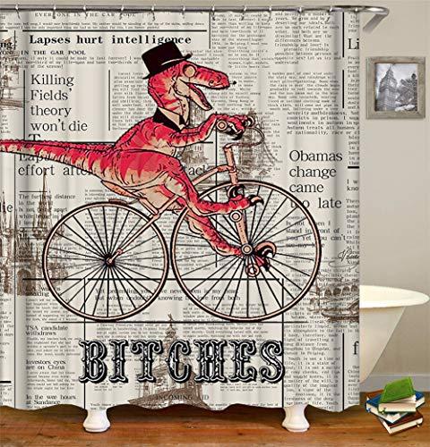 ZZZdz Hündin. Dinosaurier Fahren Fahrrad. Duschvorhang 3D Hd-Druck Verblasst Nicht 180X180 cm Wasserdichtes Gewebe 12 Freie Haken Hauptdekoration.