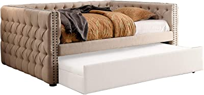 Benjara Fabric Upholstered Wooden Daybed with Diamond Button Tuftings, Beige