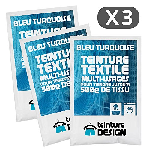 Set de 3bolsas de tinte textil–Azul Turquesa–Teintures universales para ropa y telas naturales