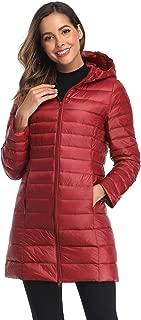Obosoyo Women's Winter Packable Down Jacket Plus Size Lightweight Long Down Outerwear Puffer Jacket Hooded Coat