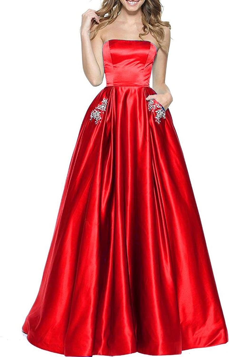 BBCbridal Women's Strapless Beaded Prom Dresses Long ALine Homecoming Party Gowns with Pockets