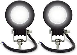 LED Light Bar 4 Inch 2Pcs Safego Round 10W Flood Beam 60 Degree Cree Led Work Light Lamp for Jeep Truck Off Road 4X4 Atv Tractor,2 Years Warranty