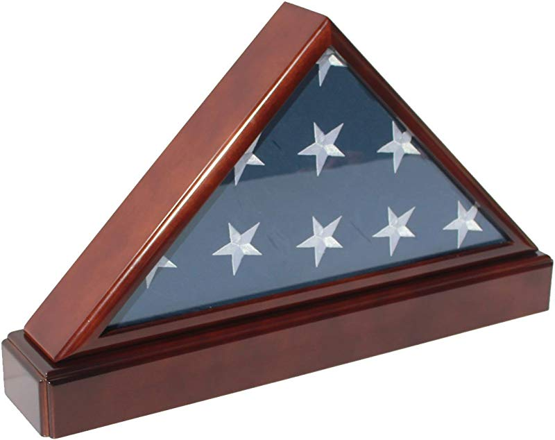 Burial Funeral Flag Display Case Frame Military Shadow Box With Pedestal Stand And Framing Mat With No Mat