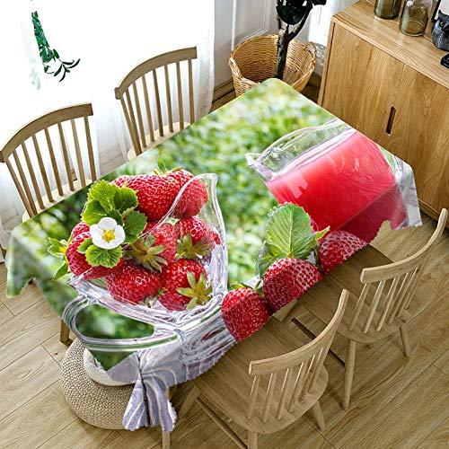 Mantel Rectangular 137x185cm PVC Impermeable Antimanchas Durable Lavable Manteles Fresa de Frutos Rojos Impresos Adecuado para Decorar Cocina Comedor Salón