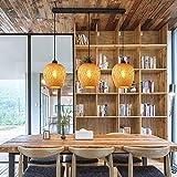 Lampada a sospensione in bambù intrecciato a mano, paralume in bambù a 3 fiamme, lampada a sospensione in stile retrò, lampada a sospensione in rattan di bambù E27 lampadario (misura: B)