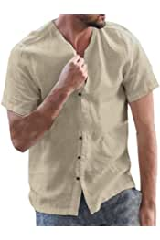 YYG Mens Stand Collar Chinese Style Basic Short Sleeve Button Down Shirts