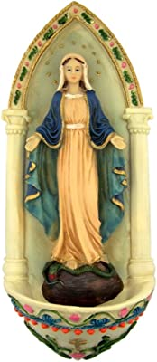 CB Resin Our Lady of Grace Mother Mary Holy Water Font, 9 3/4 Inch