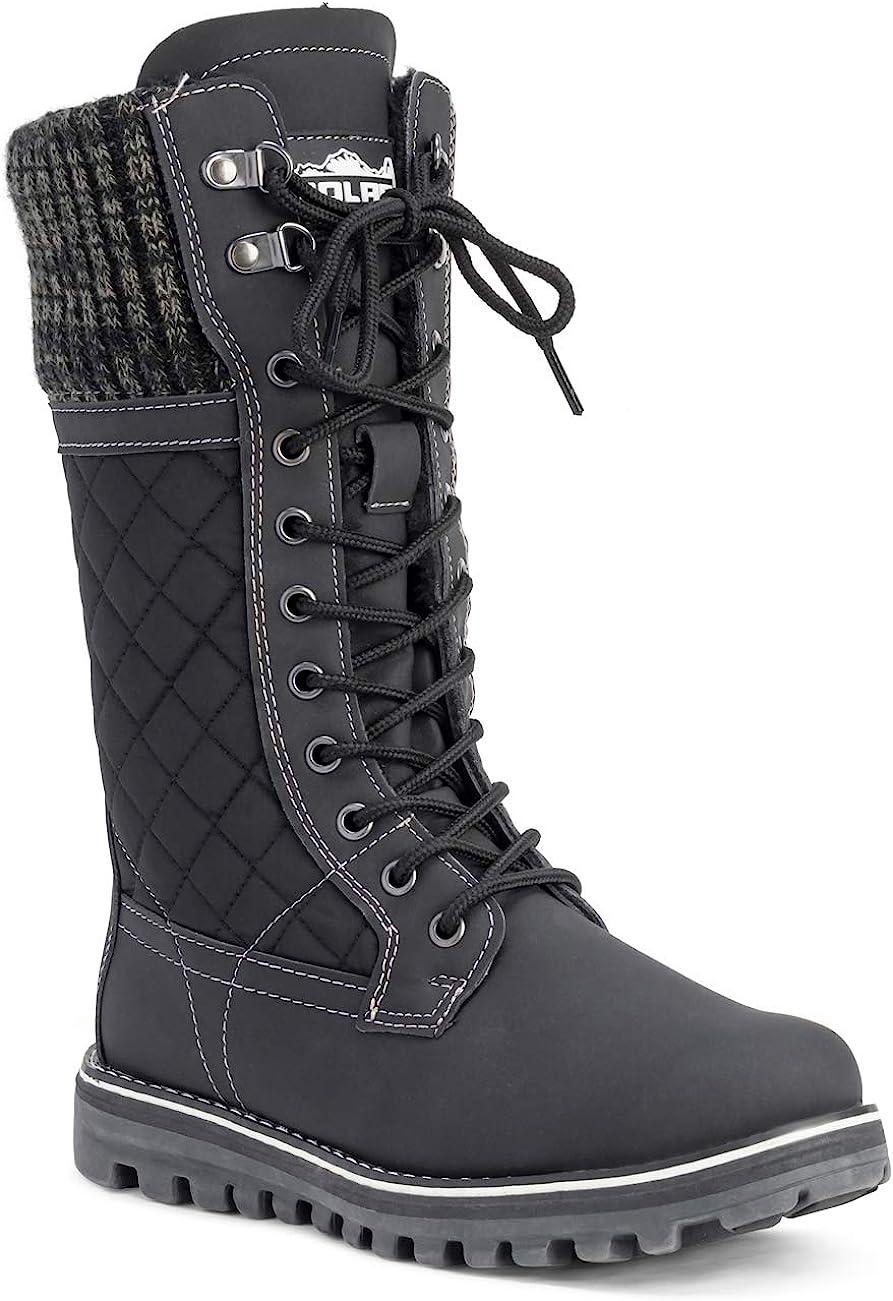 Polar Womens Faux Fur Warm Thermal Waterproof Outdoor Walking Snow Winter Rubber Sole Calf Boots