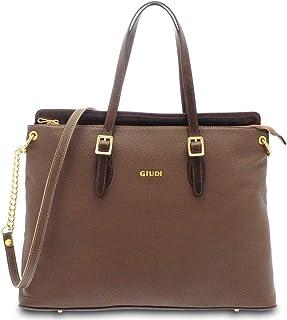 GIUDI ® - Borsa Donna in pelle vitello, vera pelle, tracolla Donna, borsa lavoro, Made in Italy. (Taupe/Mogano)