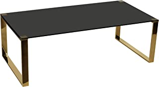 Cortesi Home Remini Coffee Table, Gold Metal and Black Glass
