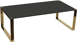 Cortesi Home Remini Coffee Table, Gold Metal and Black Glass
