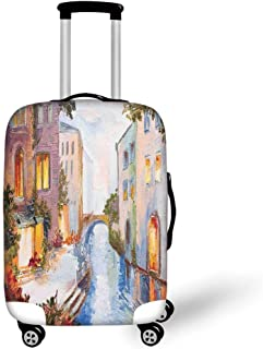 Italian American Flag Travel Luggage Cover Suitcase Protector Washable Zipper Baggage Cover