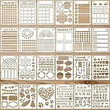 24 Piezas Plantillas de Diario de Bricolaje de Planificador de Plástico Plantillas de Pintura Dibujo Reutilizables de Manualidades de Calendario para Diario Cuaderno Diario Scrapbook