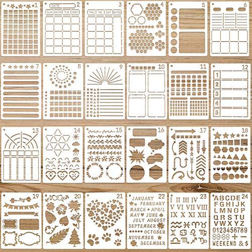 24 Stücke Journal Schablonen Kunststoff Planer DIY Vorlagen Wiederverwendbare Mal Schablonen Kalender Zeichnung Bastel Vorlagen für Journal Notizbuch Tagebuch Sammelalbum Dekoration