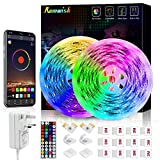 LED Strip Light 10M,Romwish RGB SMD 5050 Bluetooth Music Sync Smart Color Changing Rope Lights, 44 Keys Remote Control, Timing Function,with for Kitchen, Bedroom, TV, Party