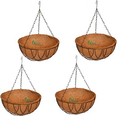 BIO BLOOMS AGRO INDIA PRIVATE LIMITED Coir Hanging Basket 14 Inches Pot - Set of 4 Pcs, with Metal Basket, Chain Eco Friendly
