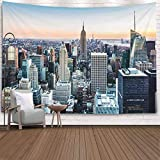 Crannel Art Tapestry, New York Skyline Sunset Tapestry 80x60 Inches Wall Art Tapestries Hanging for Dorm Room Living Home Decorative