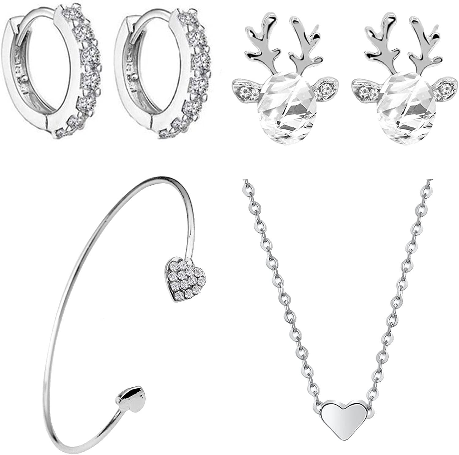 DVCB 4-piece Jewelry Memphis Mall Set Cute Deer Fashi and Omaha Mall Hoop Round Earrings