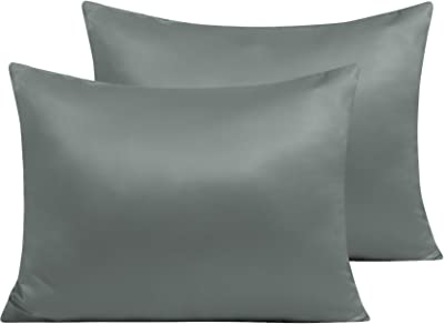 NTBAY Zippered Satin Pillow Cases for Hair and Skin, Luxury Standard Hidden Zipper Pillowcases Set of 2, 20 x 26 Inches, Dark Grey