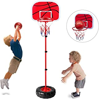 Stand Wall 2-in-1 Basketball Set - Happytime Kids Stand Adjust Hoop & Wall Basketball Hoop 2-in-1 Basketball Sets Toy with Ball Pump Indoor and Outdoor Fun Toys for 2+ Years Old