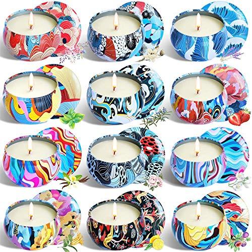 Las velas de aromaterapia aumentan el ambiente fes -S Conjunto de la vela de aromaterapia de 12 piezas, creativa de cera de soja sin humo, regalos para mamá día de madre cumpleaños aniversario baño yo
