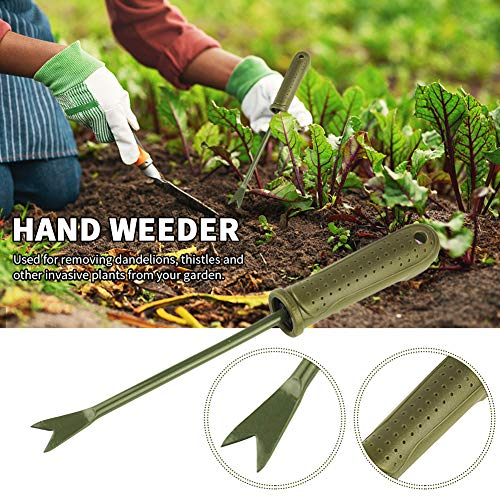 GEZICHTA Weeder Tool for Garden, Carbon Steel Hand Weeder, Heavy Duty Digging Weeder Tool, Short Handle Manual Garden Weed Picker Weed Remover Tool