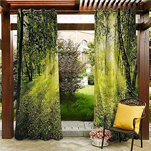 Magical Extra Wide Curtains Outdoor Patio Scattering Shading Reflection Freshening Morning in Nature Summer Season Sunset Environment Wilderness Mist Theme Green 108' W by 84' L(K274cm x G213cm)