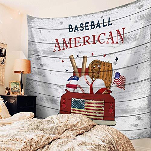 Tapiz para colgar en la pared, decoración de camión rojo, tapiz impreso, tapiz de pared para niños, niñas, niños, habitación, dormitorio, sala de estar, dormitorio, bandera estadounidense, béisbol, de