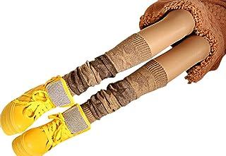 ZUMUii Butterme Ladies Girls Calcetines hasta La Rodilla de Invierno Knit Crochet Warm Leg Warmer(Caqui)