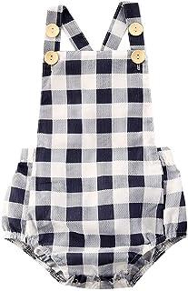 طفل بنين فتاة أكمام إجمالي الفتيات كشكش بذلة الصيف ارتداءها الرضع فحص الملابس 0-24months (Color : Blue, Kid Size : 6M)
